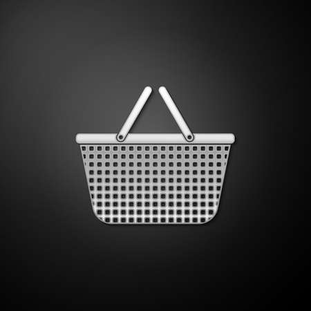 Silver Shopping basket icon isolated on black background. Online buying concept. Delivery service sign. Shopping cart symbol. Long shadow style. Vector