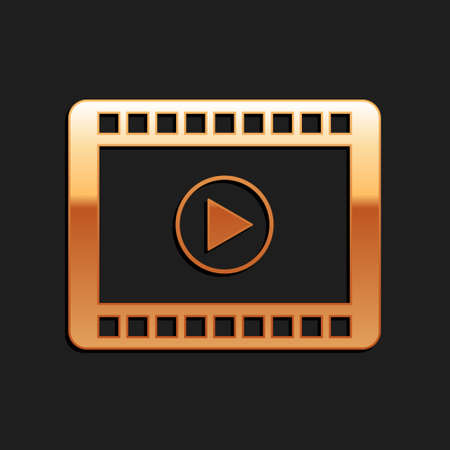 Gold Play Video icon isolated on black background. Film strip with play sign. Long shadow style. Vector