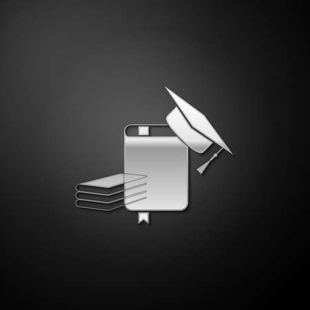 Silver Graduation cap and book icon isolated on black background. Long shadow style. Vector