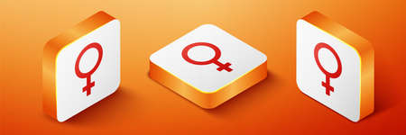 Isometric Female gender symbol icon isolated on orange background. Venus symbol. The symbol for a female organism or woman. Orange square button. Vector