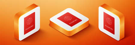 Isometric Passport with biometric data icon isolated on orange background. Identification Document. Orange square button. Vector