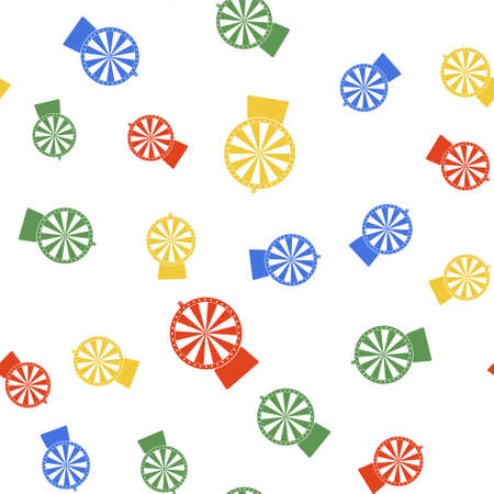 Color Lucky wheel icon isolated seamless pattern on white background. Vector