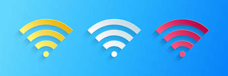 Paper cut WiFi wireless internet network symbol icon isolated on blue background. Paper art style. Vector