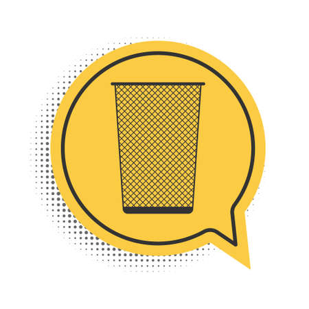Black Trash can icon isolated on white background. Garbage bin sign. Recycle basket icon. Office trash icon. Yellow speech bubble symbol. Vector