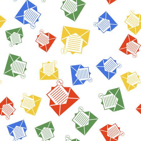 Color Received message concept. Envelope icon isolated seamless pattern on white background. New, email incoming message, sms. Mail delivery service. Vector