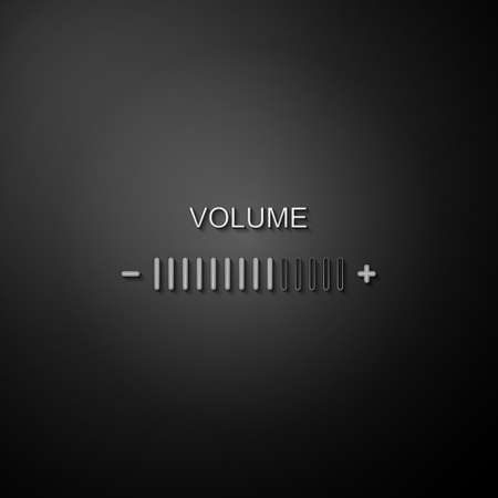 Silver Volume adjustment icon isolated on black background. Long shadow style. Vector