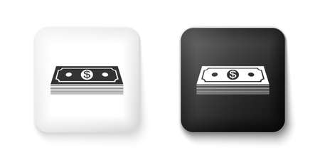 Black and white Paper money american dollars cash icon isolated on white background. Money banknotes stack with dollar icon. Bill currency. Square button. Vector 向量圖像