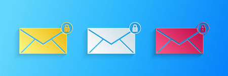 Paper cut Email message lock password icon isolated on blue background. Envelope with padlock. Private mail and security, secure, protection, privacy. Paper art style. Vector