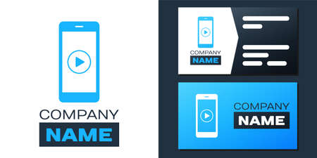 Logotype Smartphone with play button on the screen icon isolated on white background.