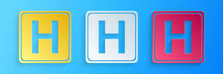 Paper cut Hospital sign icon isolated on blue background. Paper art style. Vector Illusztráció