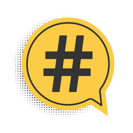 Black Hashtag icon isolated on white background. Social media symbol. Modern UI website navigation. Yellow speech bubble symbol. Vector 向量圖像