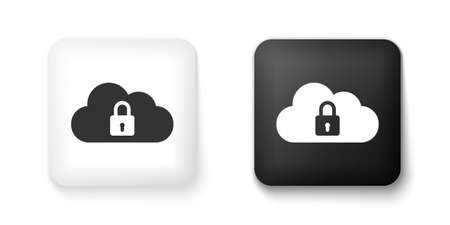 Black and white Cloud computing lock icon isolated on white background. Security, safety, protection concept. Square button. Vector