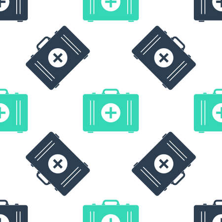 Green First aid kit icon isolated seamless pattern on white background. Medical box with cross. Medical equipment for emergency. Healthcare concept. Vector
