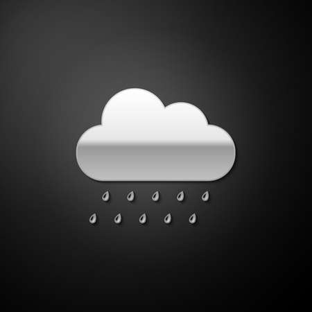 Silver Cloud with rain icon isolated on black background. Rain nimbus cloud precipitation with rain drops. Long shadow style. Vector
