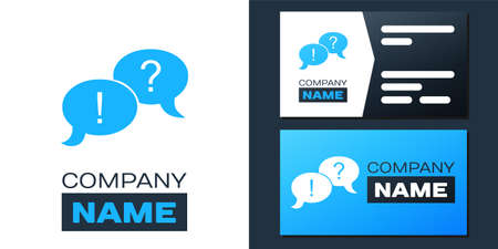 Logotype Speech bubbles with Question and Exclamation marks icon isolated on white background. FAQ sign. Copy files, chat speech bubble. 向量圖像