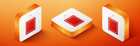 Isometric Rectangular picture frame hanging on the wall icon isolated on orange background. Orange square button. Vector