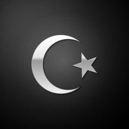 Silver Star and crescent - symbol of Islam icon isolated on black background. Religion symbol. Long shadow style. Vector