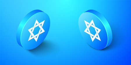 Isometric Star of David icon isolated on blue background. Jewish religion symbol. Blue circle button. Vector