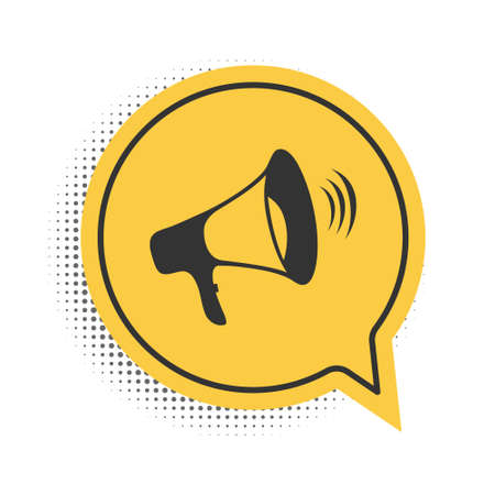 Black Megaphone icon isolated on white background. Yellow speech bubble symbol. Vector 向量圖像