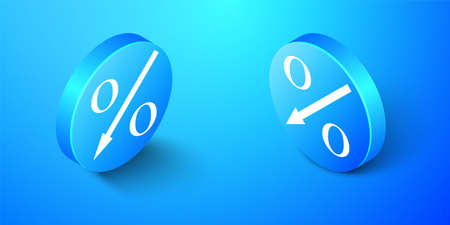Isometric Percent down arrow icon isolated on blue background. Decreasing percentage sign. Blue circle button. Vector Stock fotó - 154885426