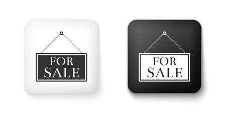 Black and white Hanging sign with text For Sale icon isolated on white background. Square button. Vector