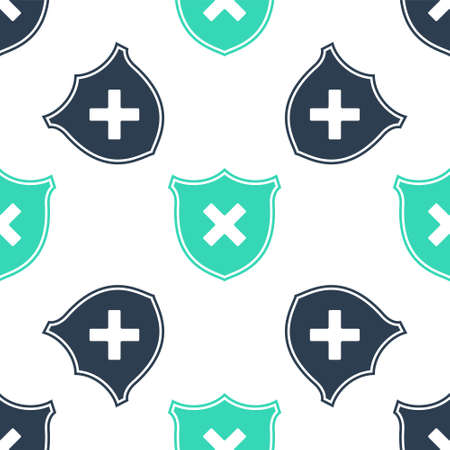 Green Shield and cross x mark icon isolated seamless pattern on white background. Denied disapproved sign. Protection, safety, security concept. Vector 向量圖像