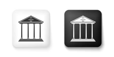 Black and white Courthouse building icon isolated on white background. Square button. Vector 向量圖像