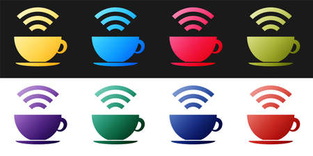 Set Cup of coffee shop with free wifi zone icon isolated on black and white background. Internet connection placard. Vector
