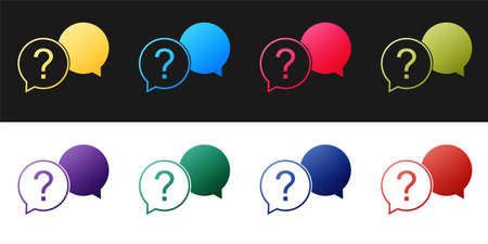 Set Chat question icon isolated on black and white background. Help speech bubble symbol. FAQ sign. Question mark sign. Vector