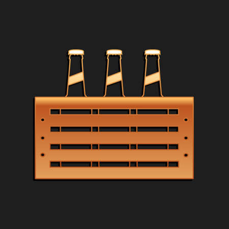 Gold Pack of beer bottles icon isolated on black background. Wooden box and beer bottles. Case crate beer box sign. Long shadow style. Vector