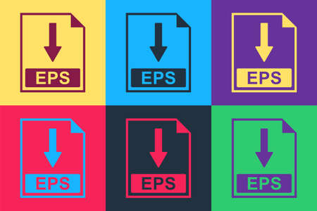 Pop art EPS file document icon. Download EPS button icon isolated on color background. Vector Vektorové ilustrace