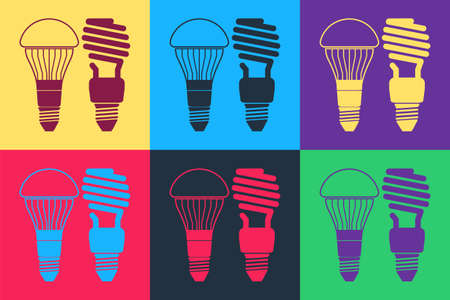 Pop art Economical LED illuminated lightbulb and fluorescent light bulb icon isolated on color background. Save energy lamp. Vector
