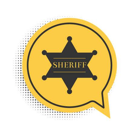 Black Hexagonal sheriff star icon isolated on white background. Sheriff badge symbol. Yellow speech bubble symbol. Vector
