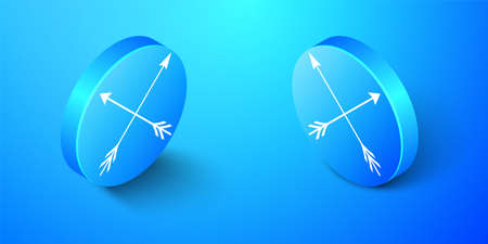 Isometric Crossed arrows icon isolated on blue background. Blue circle button. Vector Çizim