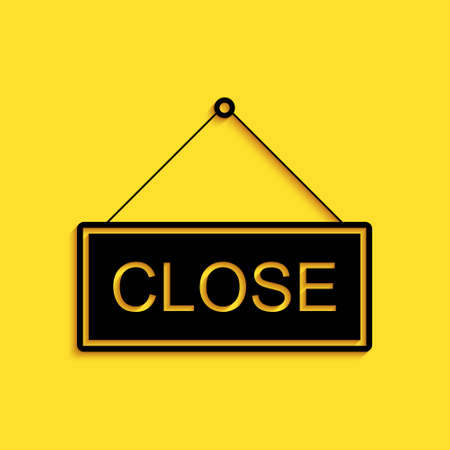 Black Hanging sign with text Close icon isolated on yellow background. Business theme for cafe or restaurant. Long shadow style. Vector