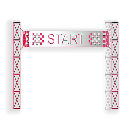Paper cut Starting line icon isolated on white background. Start symbol. Paper art style. Vector 矢量图像