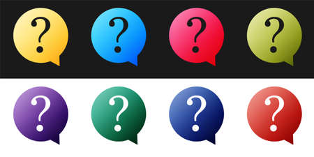 Set Question mark in circle icon isolated on black and white background. Hazard warning symbol. FAQ sign. Copy files, chat speech bubble and chart web icons. Vector Ilustração
