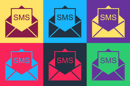 Pop art Envelope icon isolated on color background. Received message concept. New, email incoming message, sms. Mail delivery service. Vector