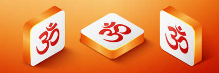 Isometric Om or Aum Indian sacred sound icon isolated on orange background. The symbol of the divine triad of Brahma, Vishnu and Shiva. Orange square button. Vector