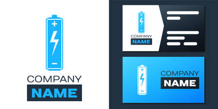 Logotype Battery icon isolated on white background. Lightning bolt symbol. Logo design template element. Vector Illusztráció
