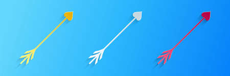 Paper cut Cupid arrow heart, Valentines Day cards icon isolated on blue background. Paper art style. Vector