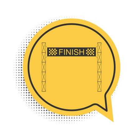 Black Ribbon in finishing line icon isolated on white background. Symbol of finish line. Sport symbol or business concept. Yellow speech bubble symbol. Vector