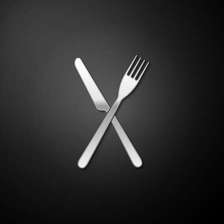 Silver Crossed fork and knife icon isolated on black background. Restaurant icon. Long shadow style. Vector