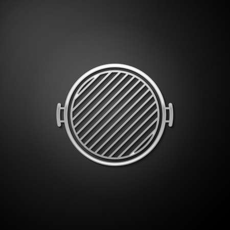 Silver Barbecue grill icon isolated on black background. Top view of BBQ grill. Long shadow style. Vector  イラスト・ベクター素材
