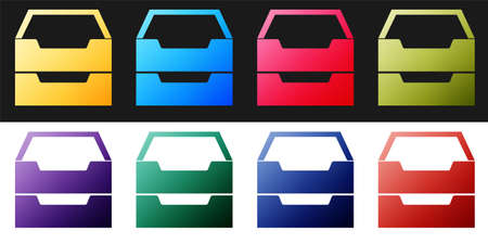 Set Drawer with documents icon isolated on black and white background. Archive papers drawer. File Cabinet Drawer. Office furniture. Vector