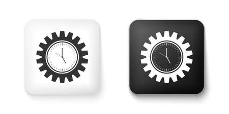Black and white Time Management icon isolated on white background. Clock and gear sign. Productivity symbol. Square button. Vector