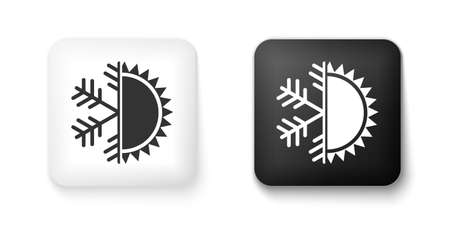 Black and white Hot and cold symbol. Sun and snowflake icon isolated on white background. Winter and summer symbol. Square button. Vector
