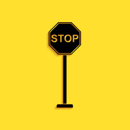 Black Stop icon isolated on yellow background. Traffic regulatory warning stop symbol. Long shadow style. Vector