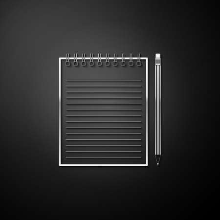 Silver Blank notebook and pencil with eraser icon isolated on black background. Long shadow style. Vector  イラスト・ベクター素材