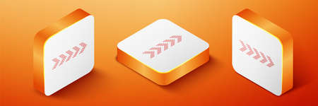 Isometric Dots arrow icon isolated on orange background. Orange square button. Vector